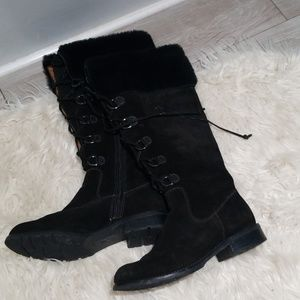 Sofft black suede leather tall lace up boots 8m